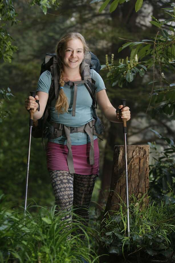 Sarah Koch in her hiking attire at Mount Sutro forest in San Francisco. Photo: Liz Hafalia, The Chronicle