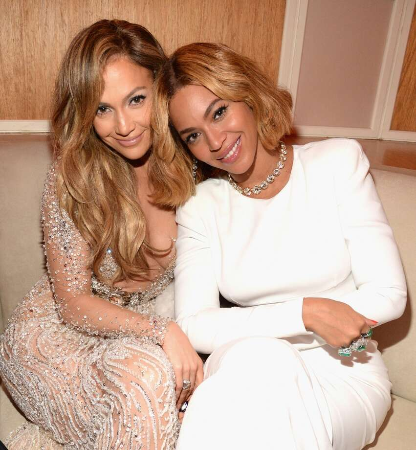 Jennifer Lopez and Beyonce attend the 2015 Vanity Fair Oscar Party hosted by Graydon Carter at the Wallis Annenberg Center for the Performing Arts on February 22, 2015 in Beverly Hills, California.  (Photo by Kevin Mazur/VF15/WireImage) Photo: Kevin Mazur/VF15, WireImage