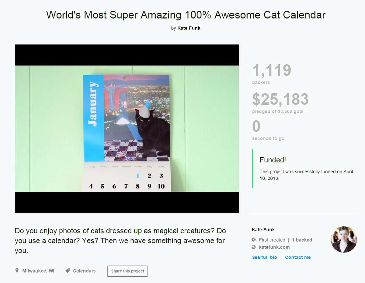 An awesome cat calendar Of course there's a campaign for a cat calendar! Kickstarter