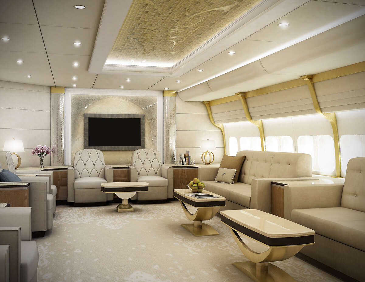 Lounge of a VIP Boeing 747-8 finished by Greenpoint Technologies, of Kirkland, Wash.