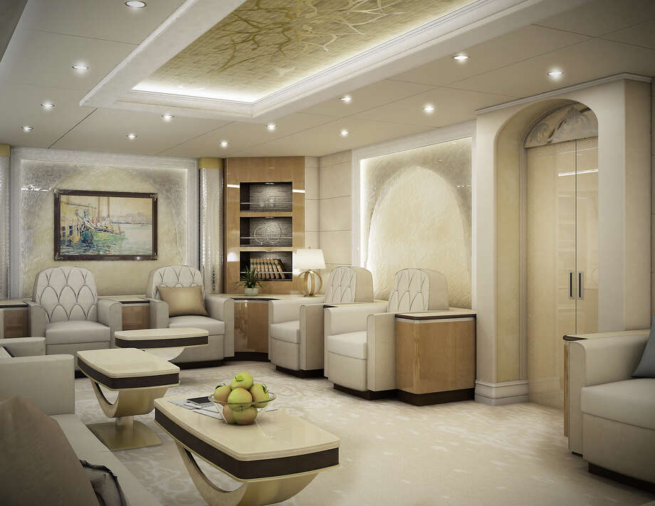 Lounge of a VIP Boeing 747-8 finished by Greenpoint Technologies, of Kirkland, Wash. Photo: Greenpoint Technologies