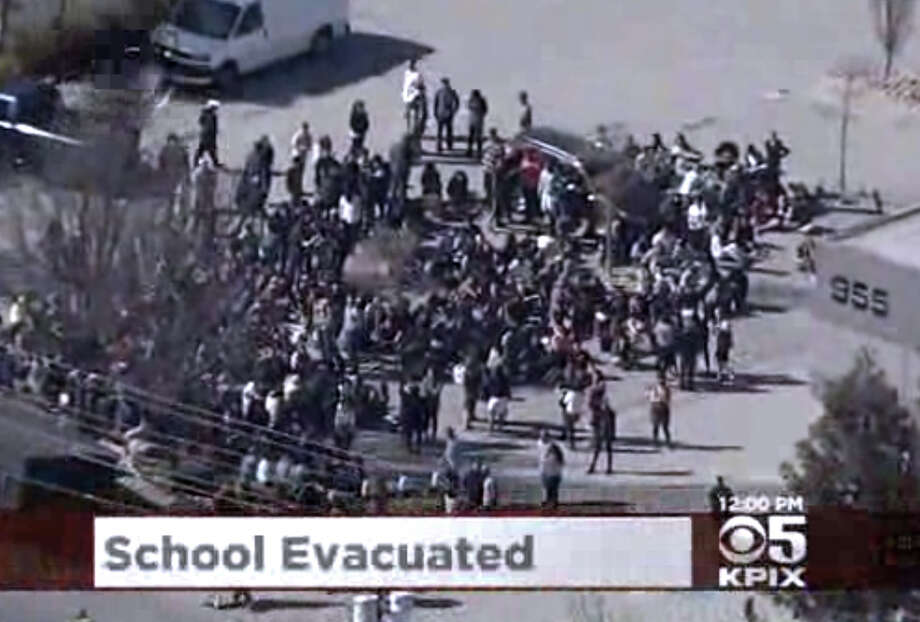 Summit Preparatory Charter High School in Redwood City was evacuated this morning after reports of a possible gun on campus Photo: CBS San Francisco