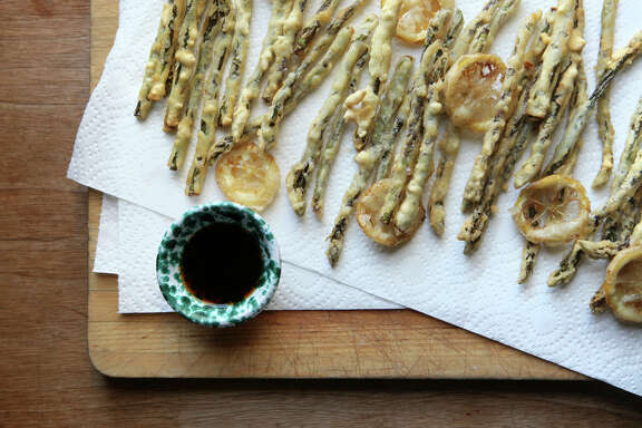 Asparagus and lemon fritto misto with ponzu sauce.