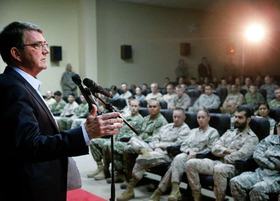 U.S. Defense Ash Carter addresses troops at Camp Arifjan, Kuwait, where top commanders and diplomats discussed the approach to the Islamic State group. Photo: JONATHAN ERNST / AFP / Getty Images / AFP