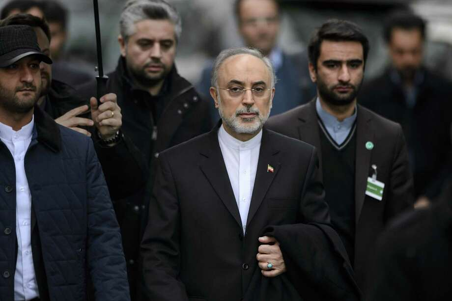 Ali Akbar Salehi (center), head of the Iranian Atomic Energy Organization, participated in the talks. Photo: FABRICE COFFRINI / AFP / Getty Images / AFP