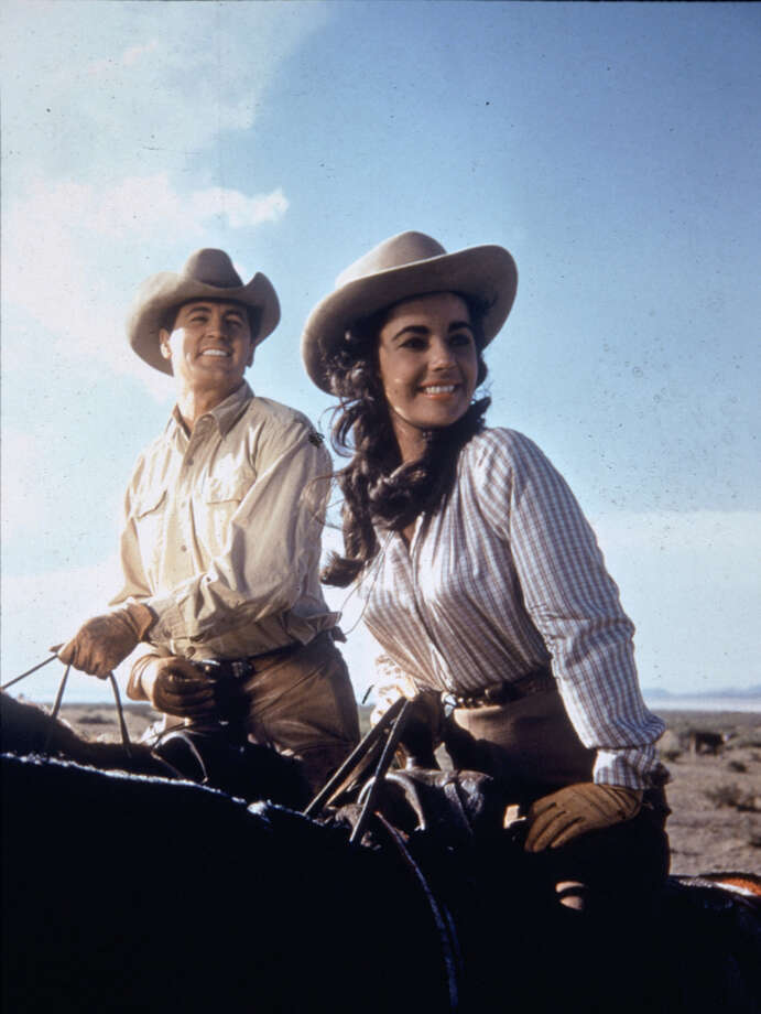 "Rock Hudson and  Elizabeth Taylor is the movie classic ""Giant."" / handout slide"