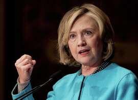 Hillary Rodham Clinton speaks at Georgetown University in Washington.