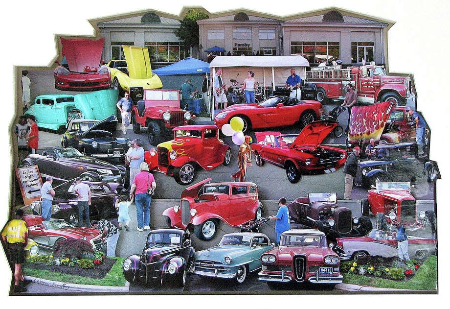 """Cruise Night,"" a three-dimensional photo-collage by Debra Schaffer, is part of an exhibition that opens March 7 at the Kershner Gallery in the main branch of the Fairfield Public Library. Photo: Picasa, Fairfield Citizen/Contributed / Fairfield Citizen"