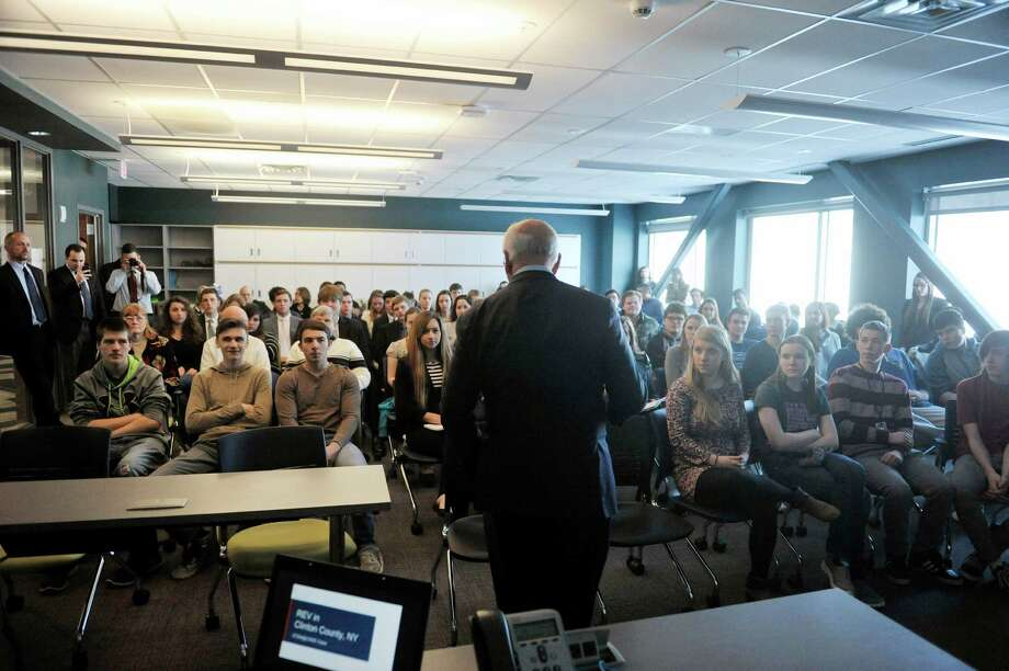 Congressman Paul Tonko talks with students  at Tech Valley High School on Monday, Feb. 23, 2015, in Albany, N.Y.  Congressman Tonko was visiting the school to talk about education policy and to talk with students about the research they are conducting.  Congressman Tonko also talked about the Educating Tomorrow's Engineers Act (ETEA), which he introduced.   The act aims to increase student achievement and interest in STEM disciplines.  (Paul Buckowski / Times Union) Photo: PAUL BUCKOWSKI / 00030720A