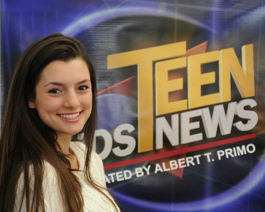 News anchor Emily Grafeo, 17, of Greenwich, poses at the Teen Kids News Corporate Headquarters in Old Greenwich, Conn. Wednesday, Feb. 18, 2015. Photo: Tyler Sizemore / Greenwich Time