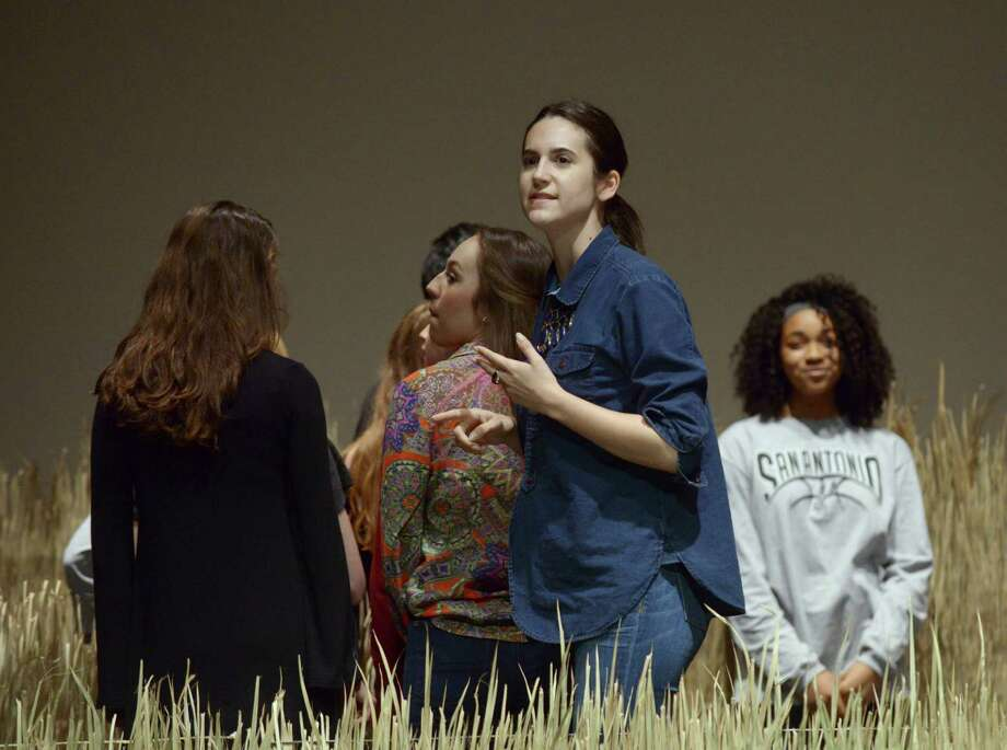 """Chloe Treat (center), a theater artist and graduate of the North East School of Arts, is back at Lee High School to direct """" Blood Wedding."""" Photo: Billy Calzada /San Antonio Express-News / San Antonio Express-News"""