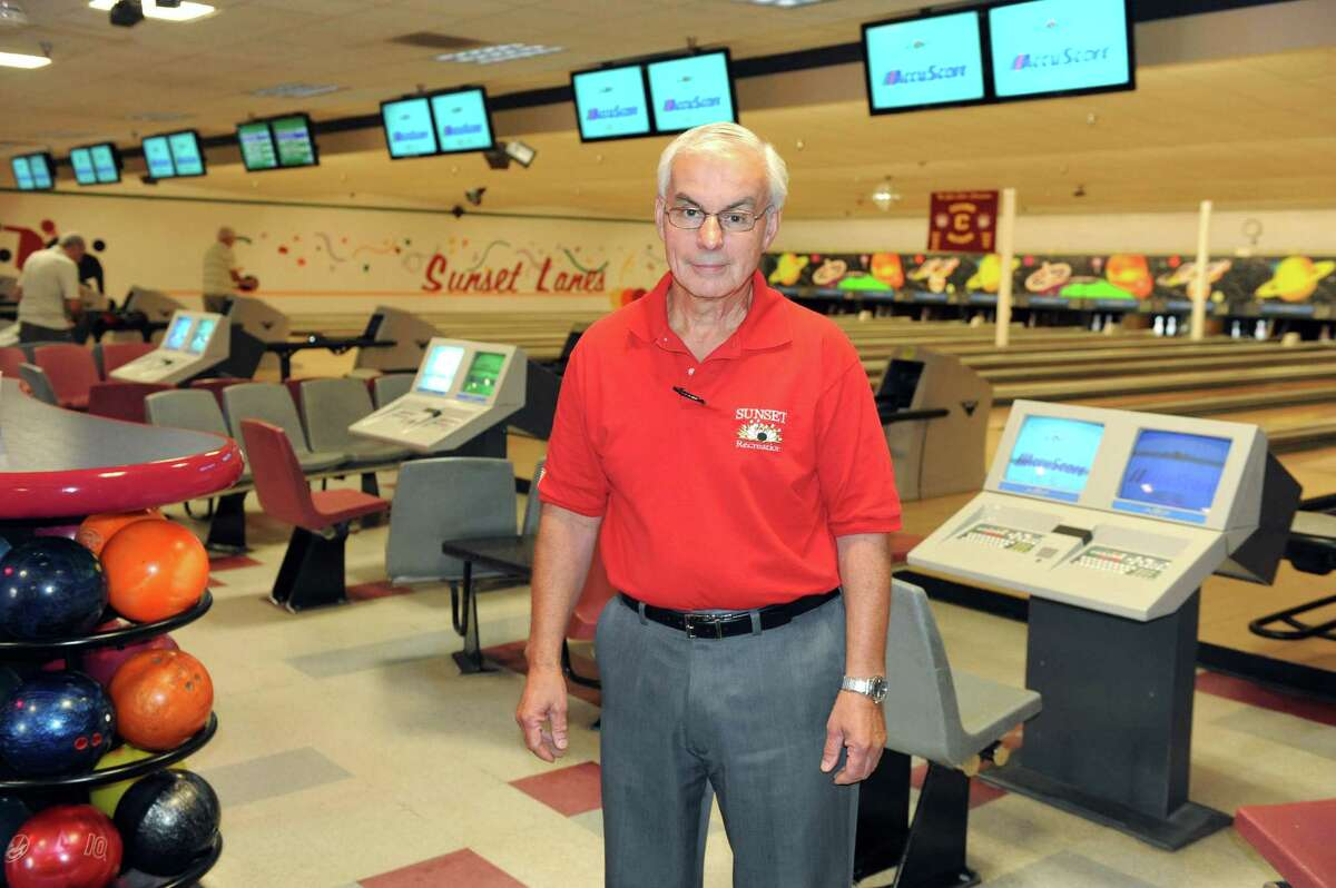 George Hoffman fourth generation owner of Sunset Lanes on Wednesday Aug. 27, 2014 in Colonie, N.Y. (Michael P. Farrell/Times Union)