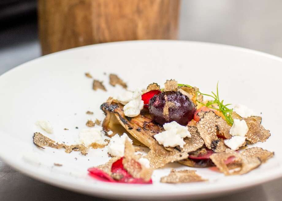 Compressed endive and roasted beet salad with black truffles Photo: Courtesy Photo / Copyright © 2014 David Rangel