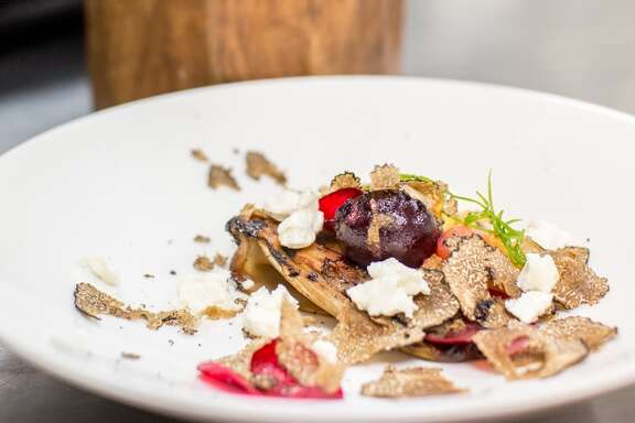 Compressed endive and roasted beet salad with black truffles