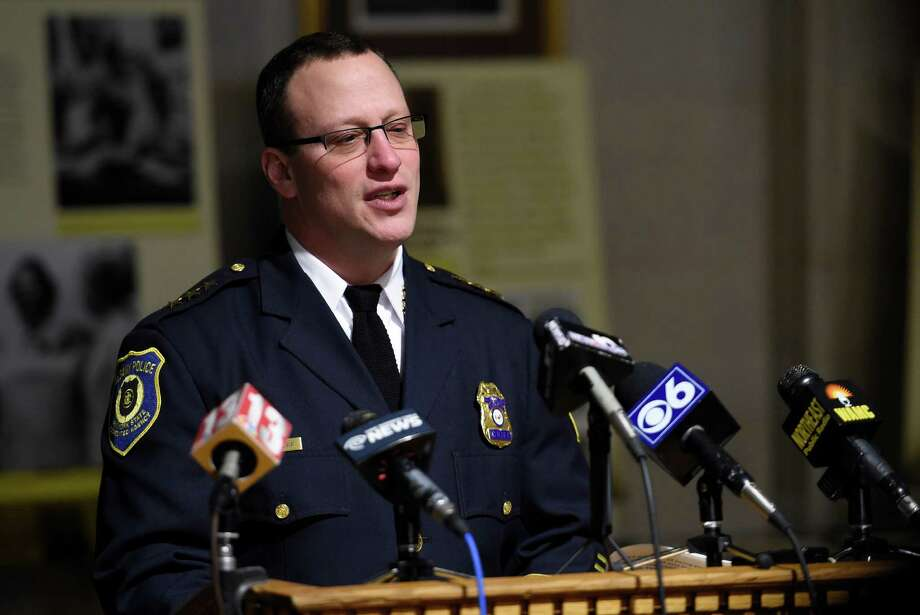 Albany Police Chief Steven Krokoff announces his retirement from the department during a press conference held Monday morning, Feb. 23, 2015, at Albany City Hall in Albany, N.Y.  Chief Krokoff will be replaced by Acting Chief Brendan Cox. He leaves April 1.  (Skip Dickstein/Times Union) Photo: SKIP DICKSTEIN / 00030721A