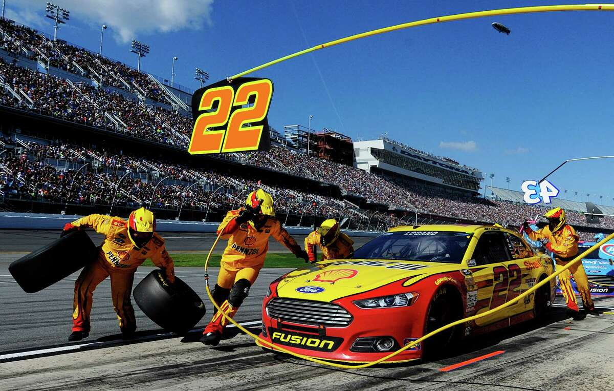 DAYTONA BEACH, FL - FEBRUARY 22: Joey Logano, driver of the #22 Shell Pennzoil Ford, pits during the NASCAR Sprint Cup Series 57th Annual Daytona 500 at Daytona International Speedway on February 22, 2015 in Daytona Beach, Florida. (Photo by Jared C. Tilton/Getty Images) ORG XMIT: 537377255