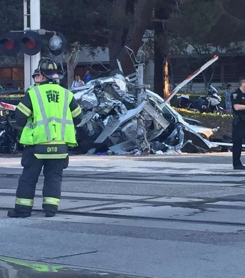 A vehicle was struck by a Caltrain near Menlo Park around 4:45 p.m. Monday.