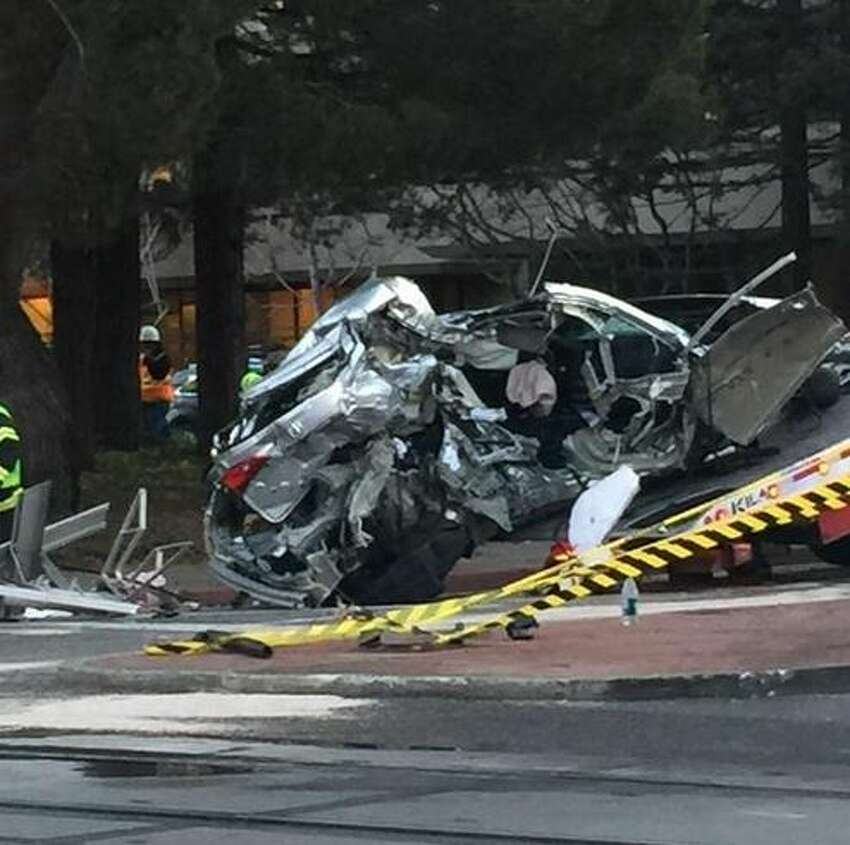 A vehicle was struck by a Caltrain near on Ravenswood Avenue in Menlo Park on Monday evening.