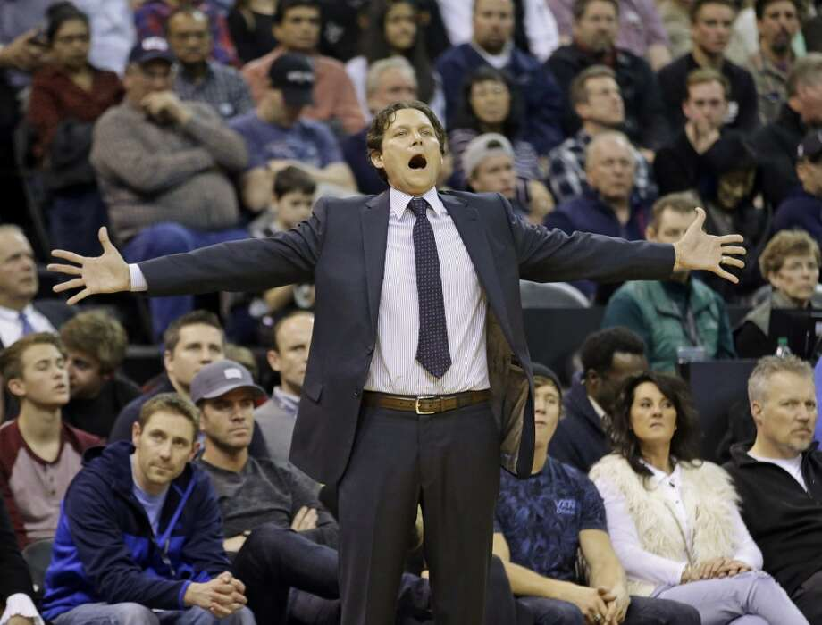 Utah Jazz head coach Quin Snyder shouts to his team in the second quarter during an NBA basketball game against the San Antonio Spurs Monday, Feb. 23, 2015, in Salt Lake City. (AP Photo/Rick Bowmer) Photo: Associated Press
