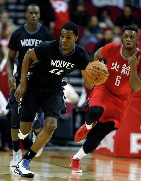 Timberwolves forward Andrew Wiggins celebrated his 20th birthday with 30 points against the Rockets. Photo: James Nielsen, Staff / © 2015  Houston Chronicle