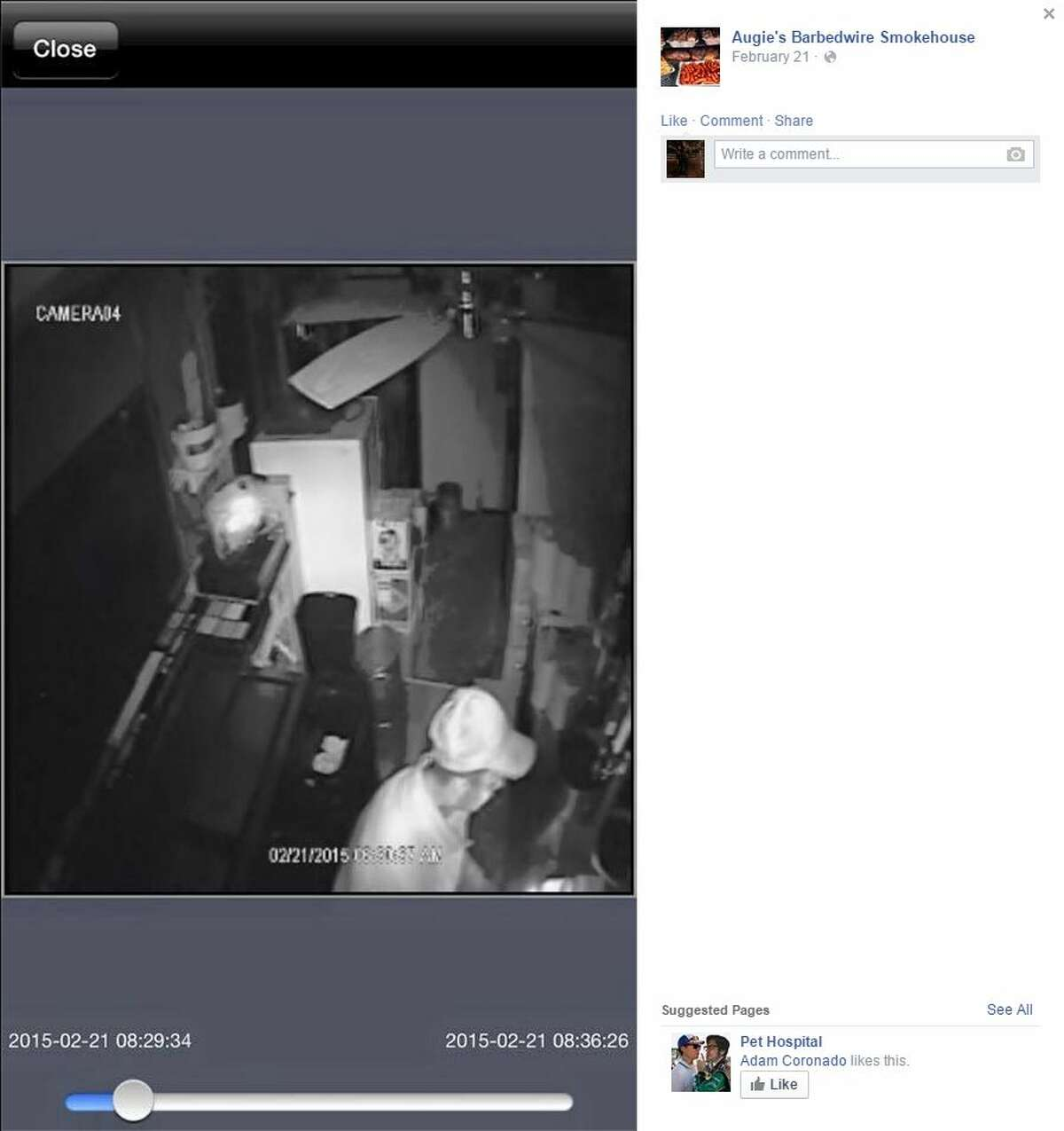 """Augie's Barbed Wire Smokehouse, located at 3709 N. St. Mary's St., posted to its Facebook page security footage of an alleged thief who stole 13 smoked briskets, 10 cases of beer and a """"brand new"""" trash can that may have been used to carry the stolen load while the restaurant's pit boss left for a few minutes to get coffee."""