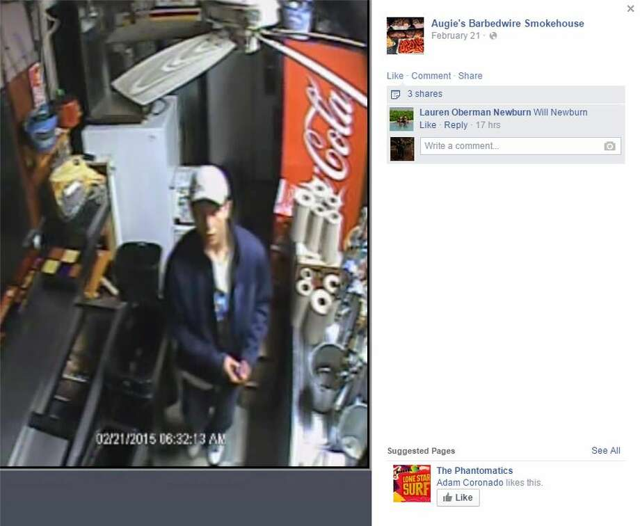 "Augie's Barbed Wire Smokehouse, located at 3709 N. St. Mary's St., posted to its Facebook page security footage of an alleged thief who stole 13 smoked briskets, 10 cases of beer and a ""brand new"" trash can that may have been used to carry the stolen load while the restaurant's pit boss left for a few minutes to get coffee. Photo: Screenshot Via Facebook"