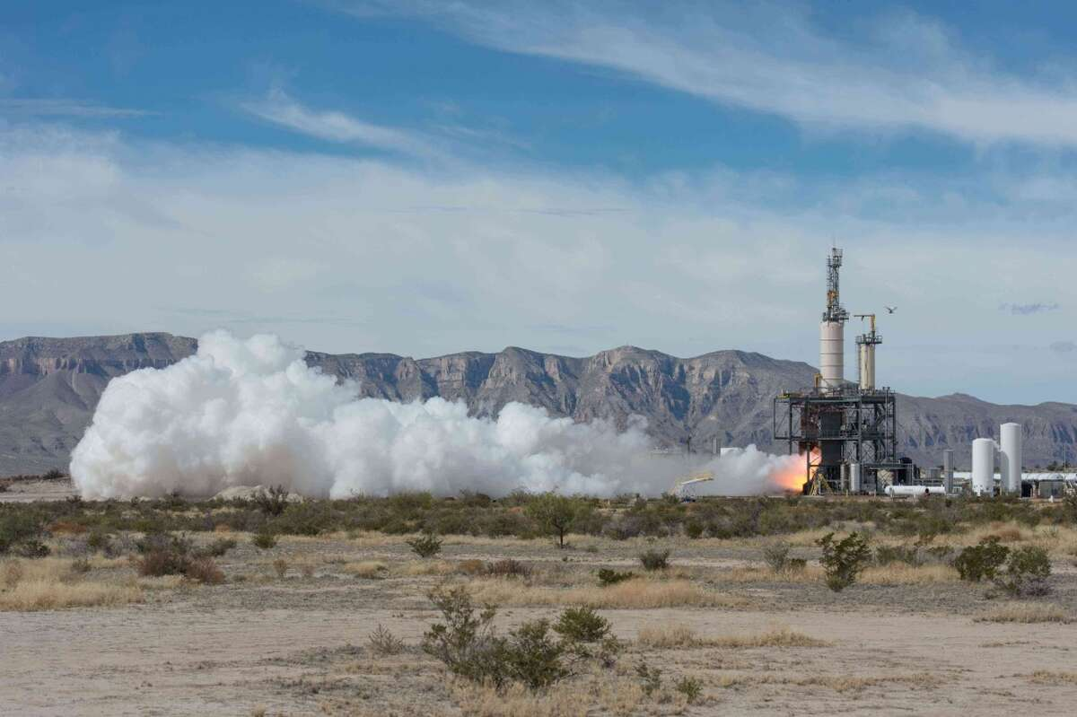 Blue Origin, the secretive company founded by Jeff Bezos, tests a rocket engine at its West Texas site near Van Horn.