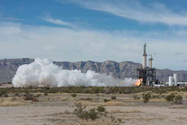 A Blue Origin engine test at its West Texas site near Van Horn. The secretive company founded by Jeff Bezos recently announced a deal to build engines for United Launch Alliance.