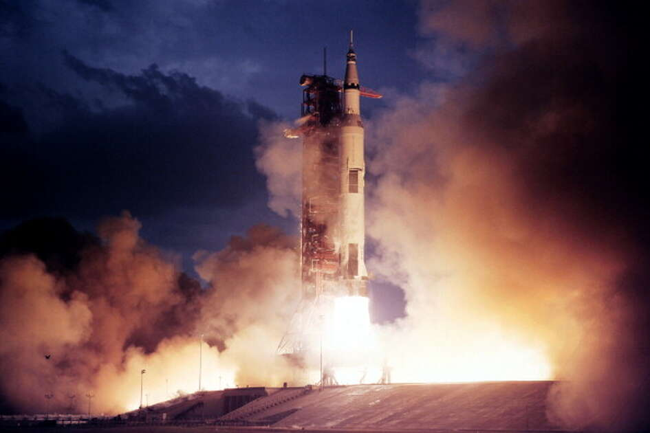 Apollo 14 rocket takes off from launch pad on January 31, 1971. The Apollo XIV mission, the third mission to land on the moon, was launched on January 31, 1971 and landed on the moon on February 5, 1971.