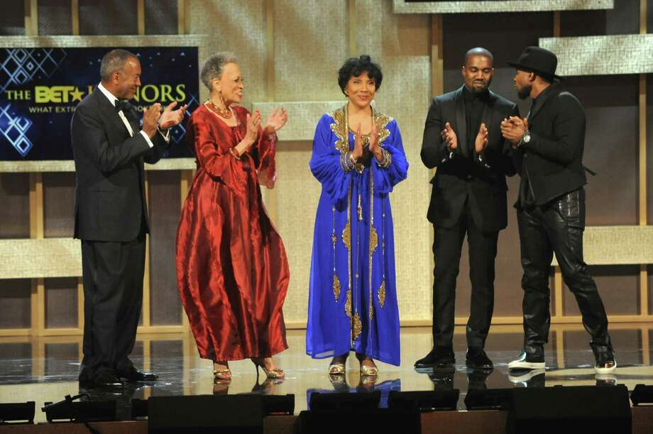 """(L-R) Honorees John W. Thompson, Johnnetta B. Cole, Phylicia Rashad, Kanye West and Usher pose onstage during """"The BET Honors"""" 2015 at Warner Theatre on January 24, 2015 in Washington, DC. Photo: Brad Barket/BET, Getty Images / 2015 Brad Barket/BET"""