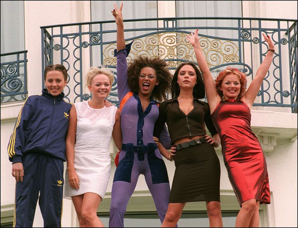 """The Spice Girls and their """"girl power"""" in 1997. From left, Melanie """"Sporty Spice"""" Chisholm, Emma """"Baby Spice"""" Bunton, Melanie """"Scary Spice"""" Brown, Victoria """"Posh Spice"""" Adams (later Beckham) and Geri """"Ginger Spice"""" Halliwell."""