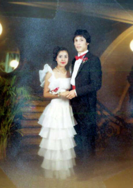 Rebecca Quintanilla, left, in her dreamy 1984 prom dress her brother and Express-News staff writer Michael Quintanilla saw at Joske's and bought for Becky to wear to her Burbank Highs School prom. Photo: Courtesy Photo