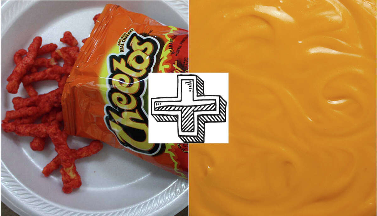 Hot Cheetos and nacho cheese Nacho cheese isn't just used on nachos in San Antonio. Here, we smother our Hot Cheetos in it. It is commonly enjoyed at football games, baseball games and in some cases - even school lunchrooms.