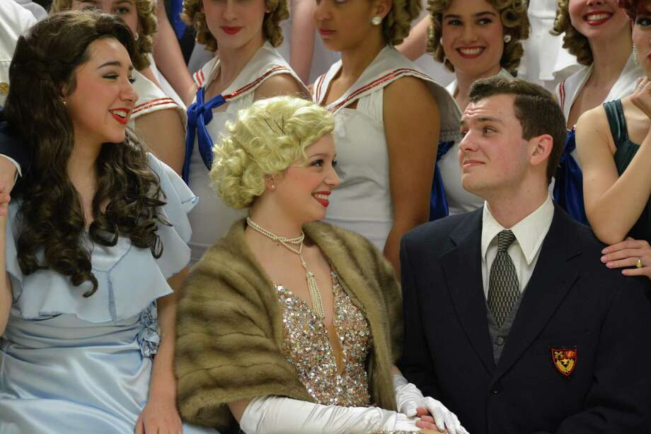 """Christopher Auchter rehearses a scene from """"Anything Goes"""" with Dani Echeverri, left, and Maddie McAllister.    Christopher Auchter rehearses a scene from """"Anything Goes"""" with Dani Echeverri, left, and Maddie McAllister. Photo:  Stephanie Crowl/St. Agnes Academy"""