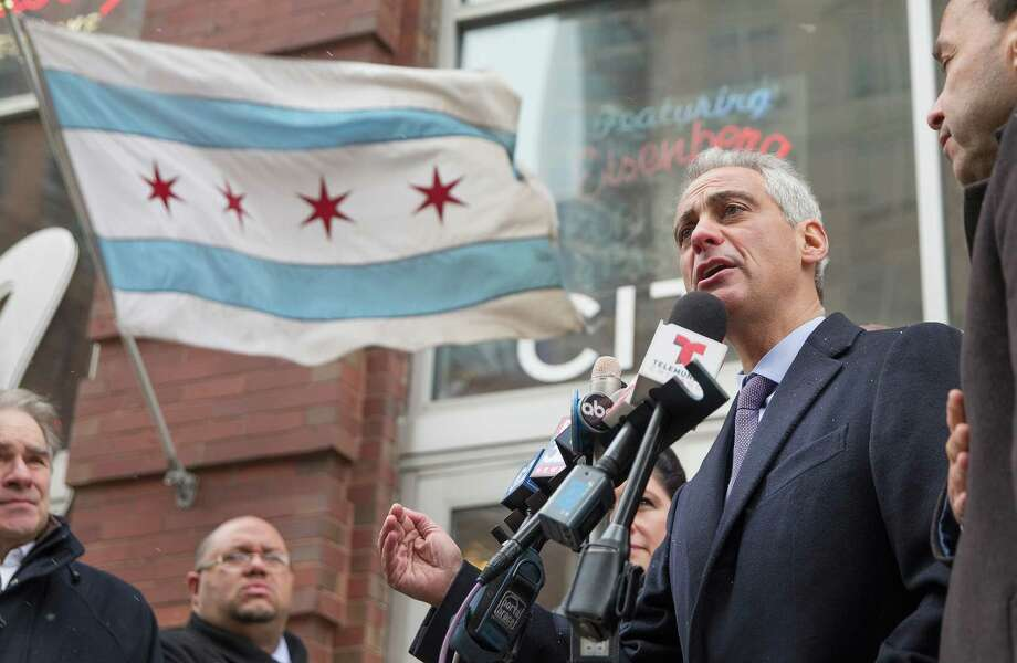 Chicago Mayor Rahm Emanuel speaks to the press as the city's residents voted on whether to give him a second term. Emanue led in recent polls, but not with enough votes to avoid a runoff election. Photo: Scott Olson / Getty Images / 2015 Getty Images