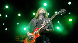 Dave Meniketti, lead singer of Y&T, a heavy metal band from Oakland, performing at the Fillmore in 2011.