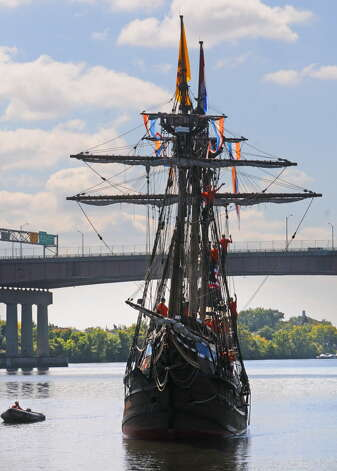 Local middle school children return from their student voyage of discovery aboard the replica ship the Half Moon on Friday Sept. 19, 2014 in Albany, N.Y. (Michael P. Farrell/Times Union archive) Photo: Michael P. Farrell / 00028611A