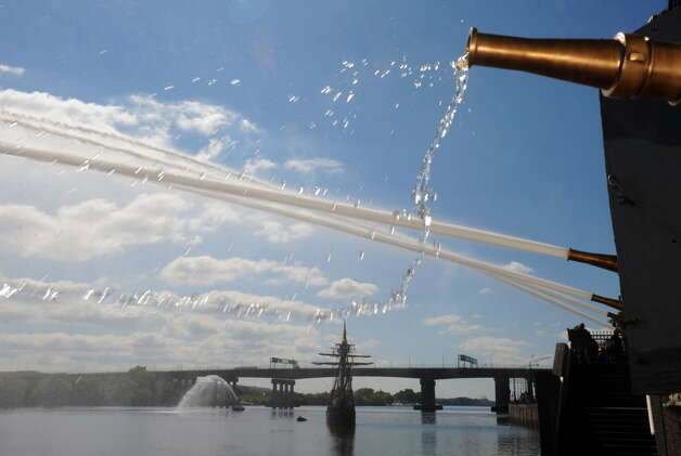 A water salute from the Office of General Services Water Pumping Station welcomes local middle school children return from their student voyage of discovery aboard the replica ship the Half Moon on Friday Sept. 19, 2014 in Albany, N.Y. (Michael P. Farrell/Times Union archive) Photo: Michael P. Farrell / 00028611A