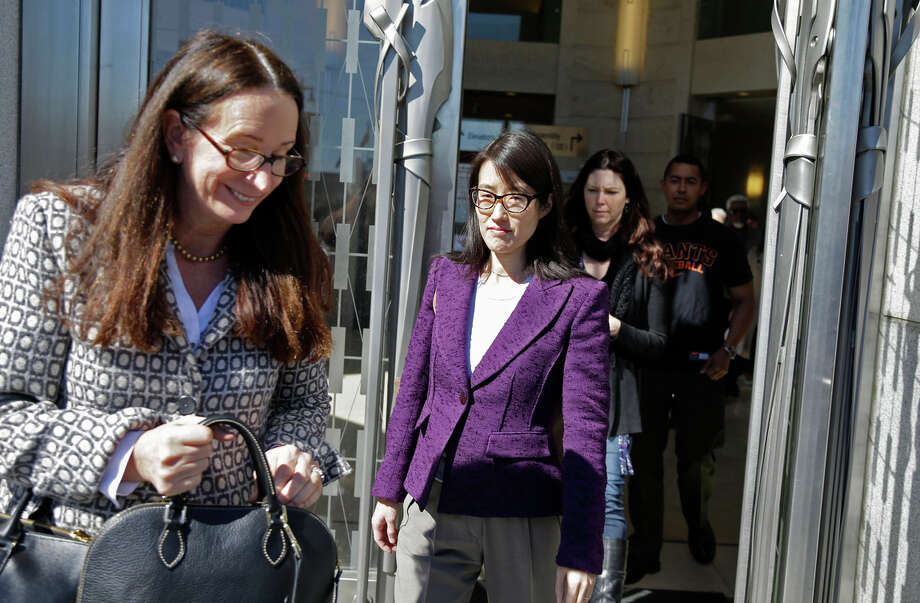 Ellen Pao (center) and one of her attorneys, Therese Lawless (left), leave the courthouse for during a break. She is suing Kleiner Perkins Caufield & Byers. Photo: Eric Risberg / Associated Press / AP