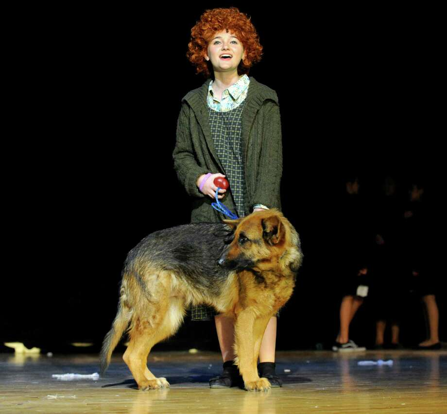 """Lily Hennig, 13, plays Annie in Broadview Middle School'si seventh musical production, """"Annie, Jr."""" this week. Under the direction of Jill Russell-Benner, the after school theatre group, will perform Wednesday at 7p.m., Thursday at 9a.m. for Broadview students and 7p.m., Friday at 10a.m. for elementary school children (this features the understudy cast) and a final performance at 7p.m. Photo: Carol Kaliff / The News-Times"""