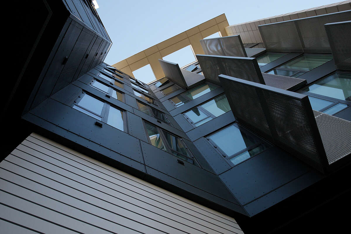 A view of the south side of Mercy Housing, an architectural bright spot in Mission Bay.