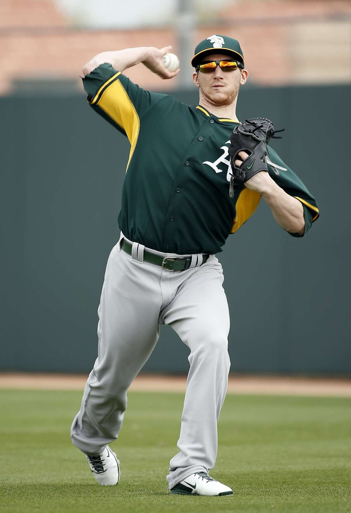 Oakland A's Jarrod Parker during Spring Training in Mesa, Arizona, on Monday, February 23, 2015.