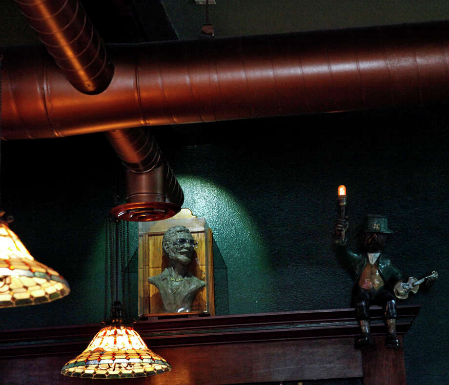 Gallagher's Dublin Pub is an institution in Dublin. A bust of Jim Gallagher, the original owner and father of current owner Sunshine Gallagher, hangs over the bar. Photo: Preston Gannaway / Special To The Chronicle / ONLINE_YES