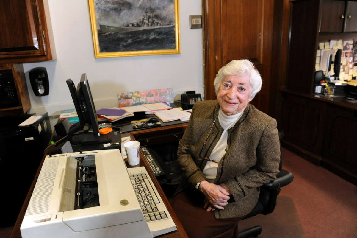 Thelma Dooley, alongside her trusty typewriter, at her desk on Wednesday, Nov. 13, 2013, at City Hall in Albany, N.Y. Dooley, secretary to all three Albany mayors since World War II, retired alongside Mayor Jerry Jennings at the end of 2013. (Cindy Schultz / Times Union archive)