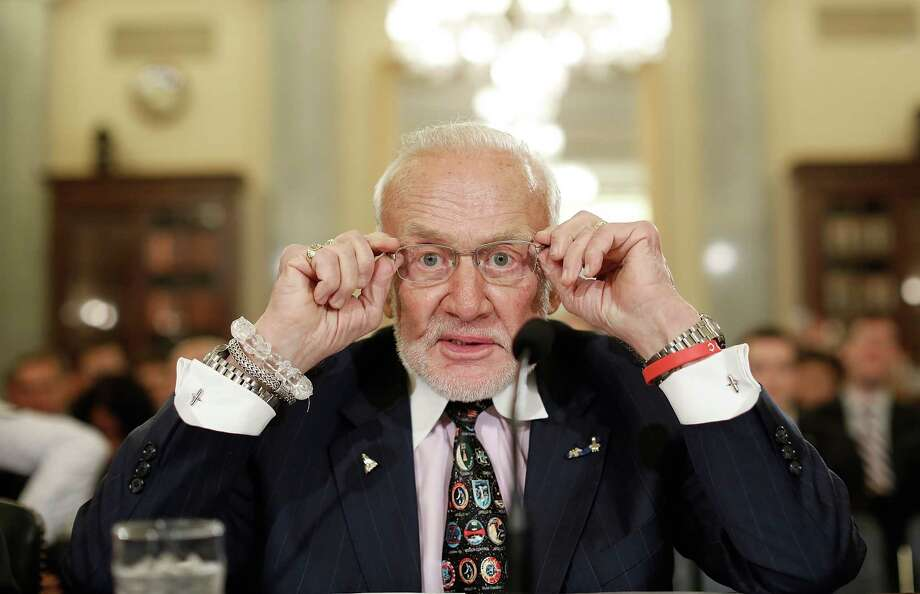 Former astronaut Buzz Aldrin prepares to testify Tuesday before the Senate Space, Science, and Competitiveness Subcommittee. Photo: Win McNamee, Staff / 2015 Getty Images