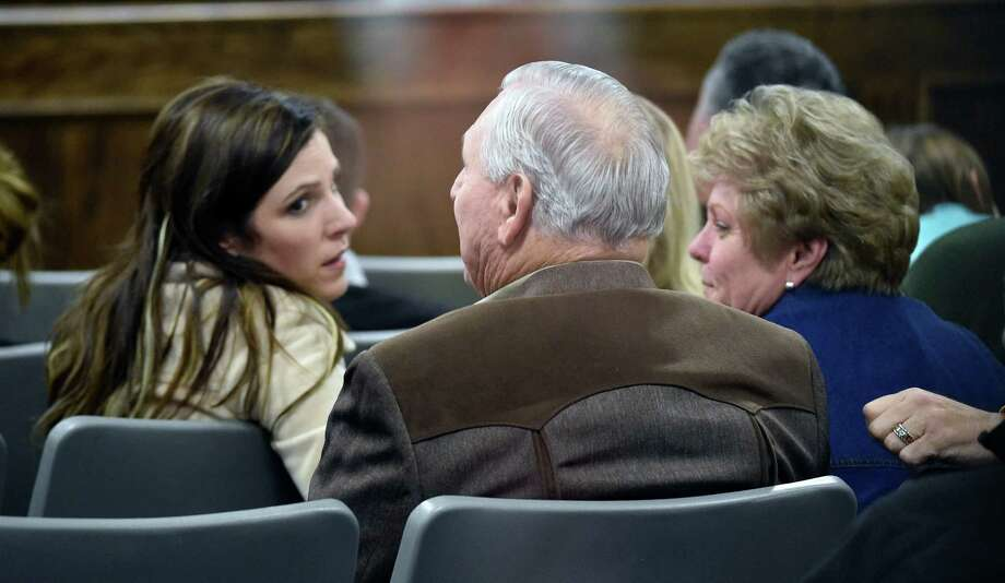 Taya Kyle, wife of slaying victim Chris Kyle, sits near Don and Judy Littlefield, parents of Chad Littlefield, who also was killed, during Eddie Ray Routh's capital murder trial in Stephenville. Photo: Michael Ainsworth /Associated Press / Pool The Dallas Morning News