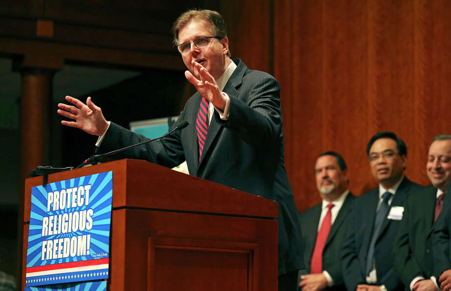 Lt. Governor Dan Patrick speaks, backed by Houston pastors, to the Texas Faith and Family Day rally in the State Capitol on   February 24, 2015 Photo: Tom Reel / San Antonio Express-News