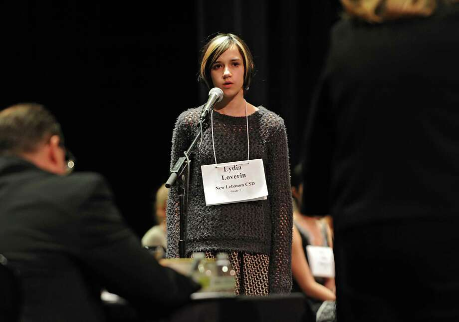 Seventh grader Lydia Loverin spells a word correctly during the Capital Region Spelling Bee at Proctors on Tuesday, Feb. 24, 2015 in Schenectady, N.Y.  (Lori Van Buren / Times Union) Photo: Lori Van Buren / 00030397A