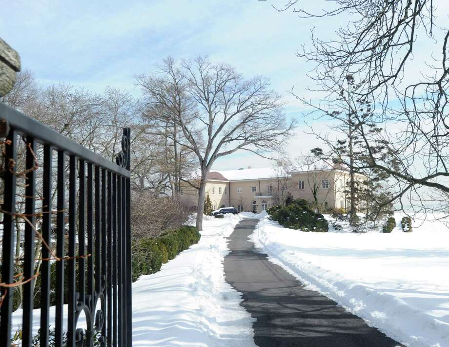The mansion at 207 Byram Shore Road in Greenwich, Conn., Tuesday, Feb. 24, 2015, is on the market for $29.5 million. Photo: Bob Luckey / Greenwich Time