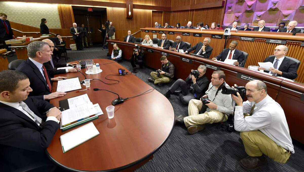New York Mayor Bill de Blasio addresses a joint Senate and Assembly committee weighing Gov. Andrew Cuomo's budget proposal for the coming fiscal year. (Skip Dickstein / Times Union)